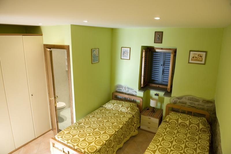 Camera verde con due letti singoli o matrimoniale , bagno interno con doccia e tv a schermo piatto.
