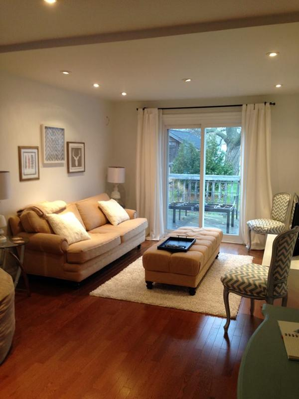 A great family room with sliding doors leading to the  large backyard.