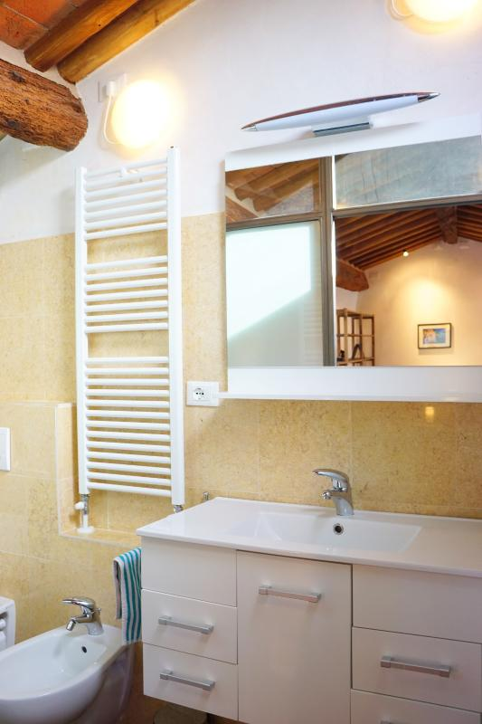 Upstairs bathroom with good mirror and vanity area also has bathtub, shower, bidet, and toilet.