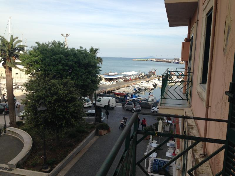View from the balcony; overlooking the port of Anzio, sea view