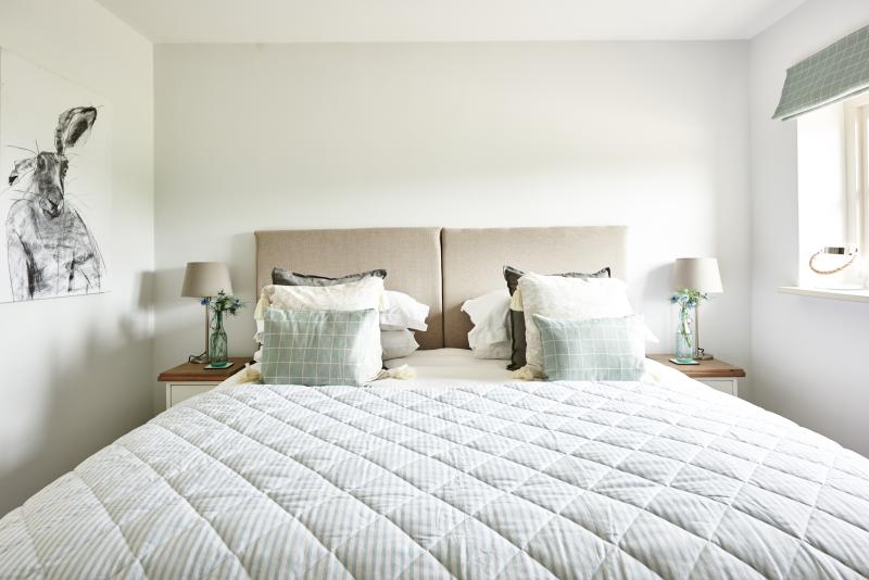Super king bed can also be configured to twin beds, fitted with Egyptian cotton sheets