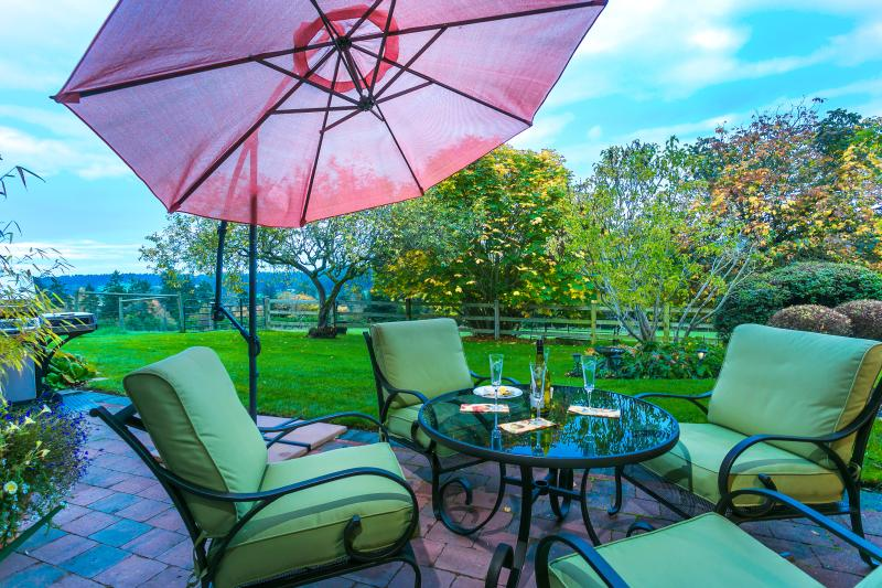 View of your private patio,  surrounding grounds. privacy, space, incredible views.over the  valley
