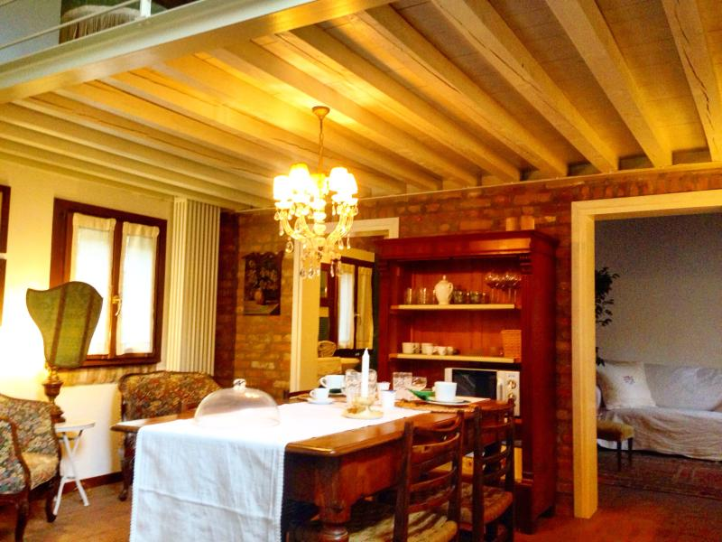 the dining-room and the wood beams