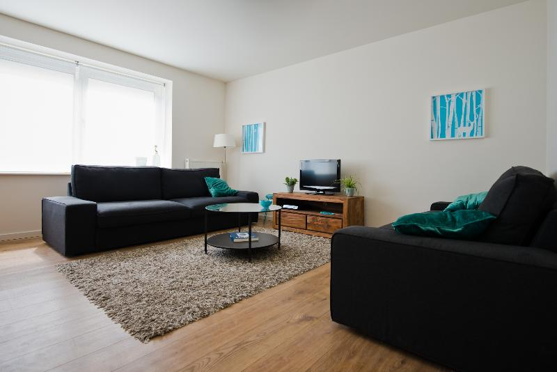 Sitting area with digital tv, spacious sofa's and queen size sofa bed