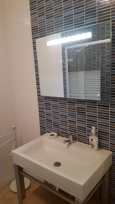2nd bathroom with enclosed shower unit and sink