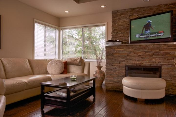 Stone Fireplace w/ TV