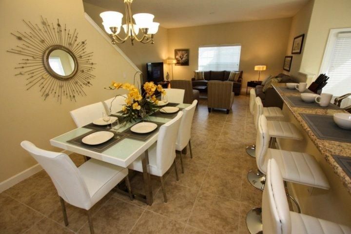 Dining Table for Eight Guests and Breakfast Bar Seating for 4 Additional Guests