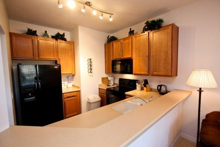Fully Stocked Kitchen w/Modern Black Appliances