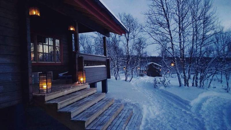 Main cabin entrance on an early winter afternoon during the Polar Night