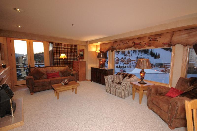 Abundant amount of expansive views of the mountains, ski area, and mountain village.