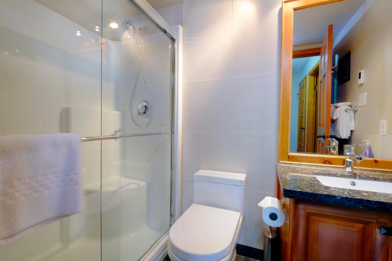 Main bathroom has good sized shower with dual shower heads and heated tile floor.