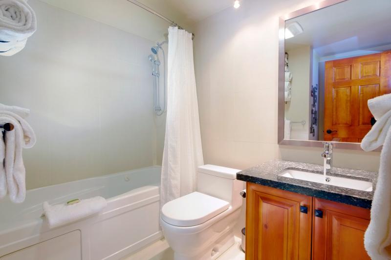 Master bathroom has heated tile floor and Jacuzzi jetted tub.