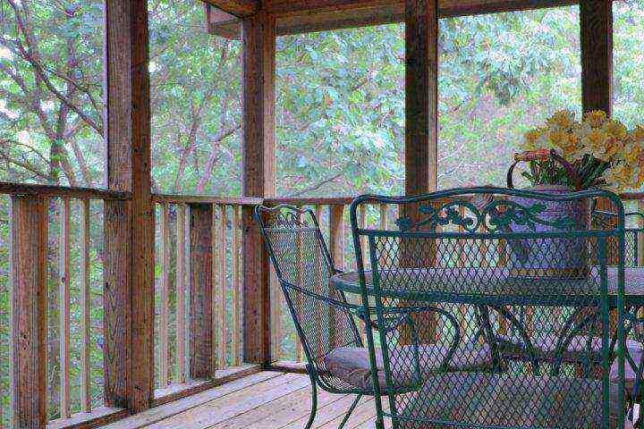 Skärmad-i Back Porch i skogen