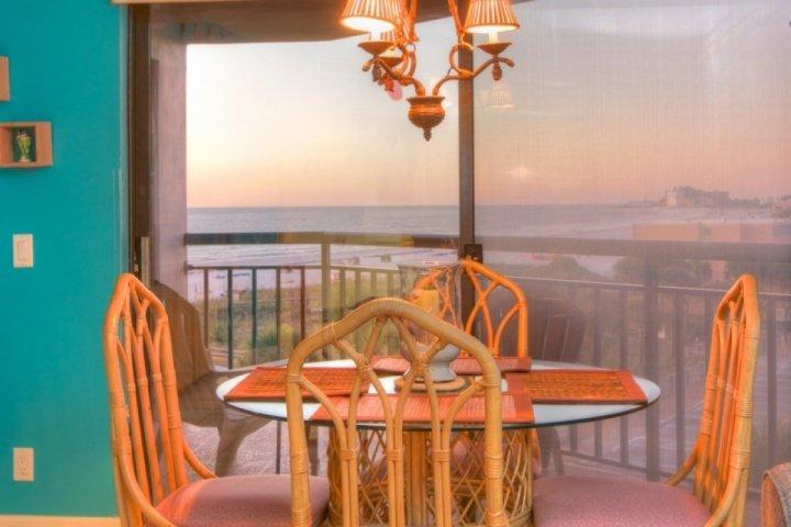 View of the beach from dining area