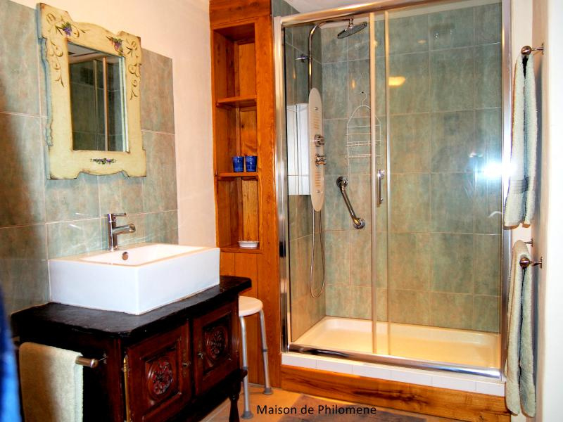 Chambre Chenille's en-suite with double hydro massage shower, shower stool and grab rail.