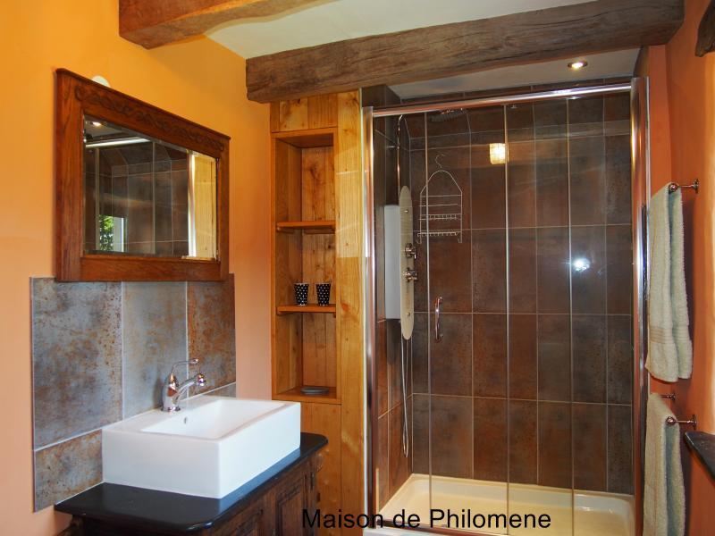 Chambre Sauterelle's en-suite with double hydro massage shower.