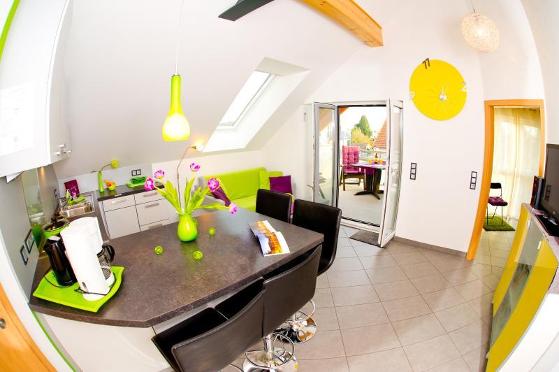 Wohnraum mit Küche, Essbereich, Zugang zum Dachbalkon