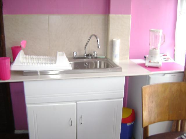 Cocina: lavabo de platos, escurridor, licuadora.