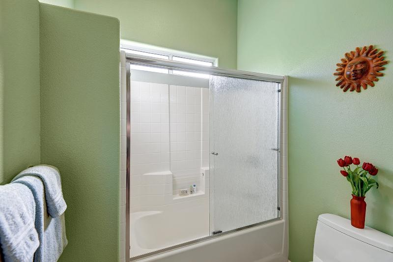 Guest bathroom shower, we supply the soap, hair dryer, toilet paper and more!