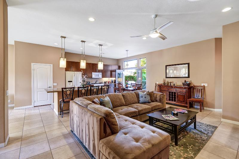 Family Room, Dining Room & Kitchen With Designer Lighting And French Doors To Rear Patio