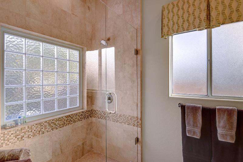 Master Bath With Glass And Tile Walk-in Shower