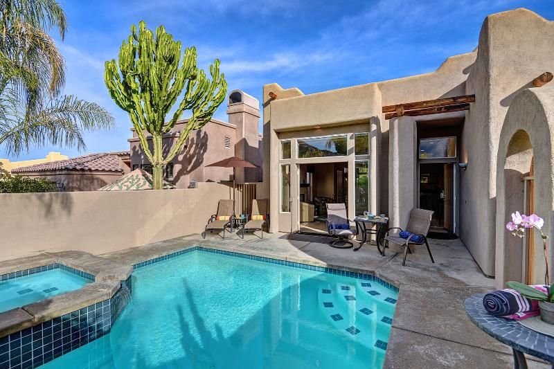 Indoor/Outdoor flow to Heated, Private Saltwater Pool & Spa.