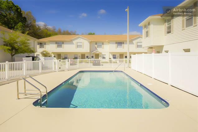 The pool is right next to the unit. We have pool chairs available for our guests.