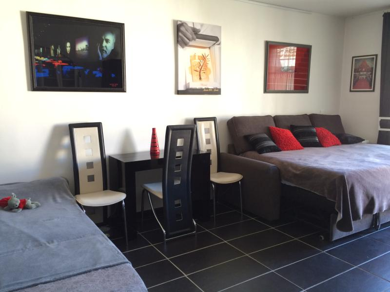 Living room with a large bed for 2 persons (mattresses shape memory) and a 1 bed place