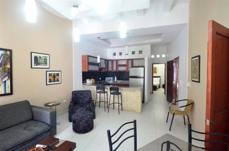 Salon avec cuisine et chambre à coucher en arrière-plan