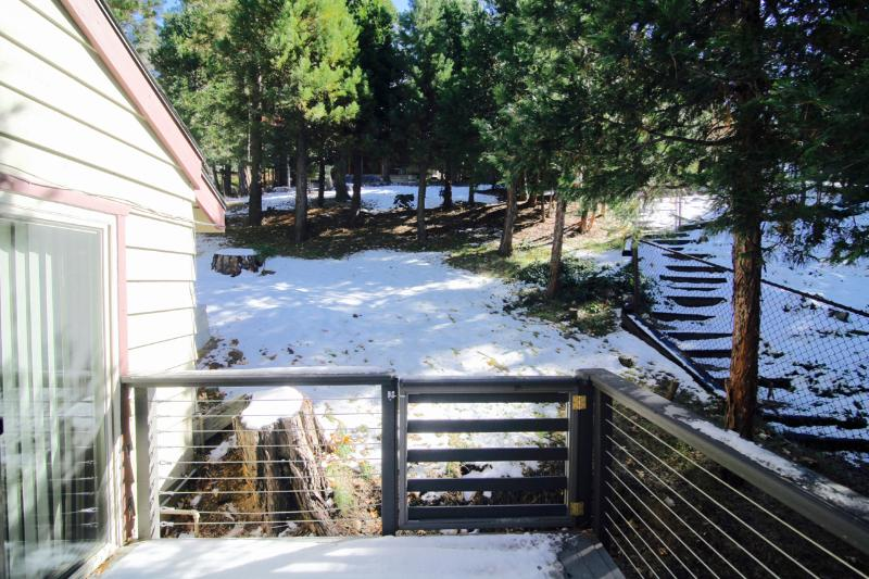 View of the backyard from the deck