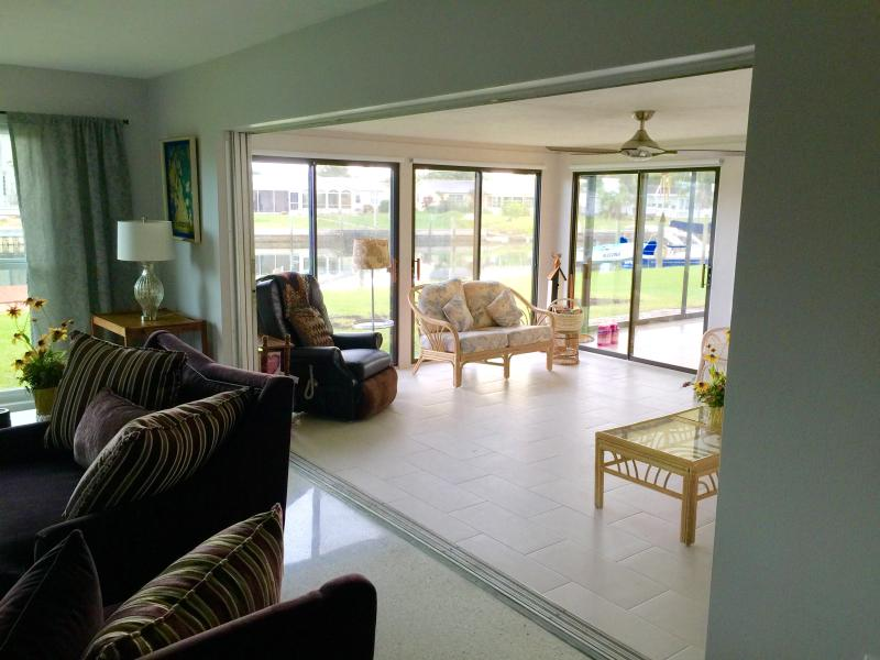 View from living room into the sunroom
