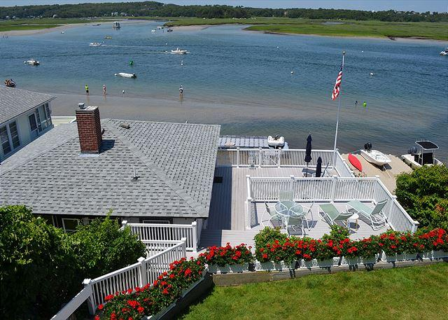 View of the cottage and decks from the main house.
