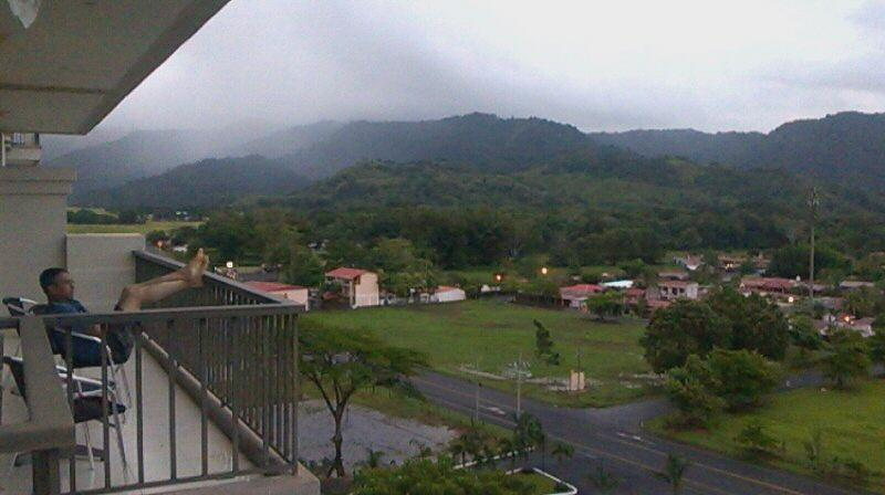 Mountain views from balcony...foggy morning in September