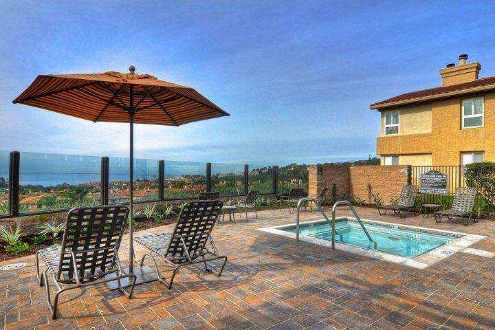 Ocean view spa and spacious patio area at Monarch Hills