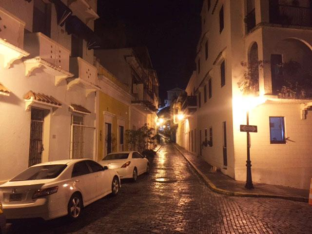 Night view of street Caleta de las Monjas -house is located  left sideof street 15yards from st sign