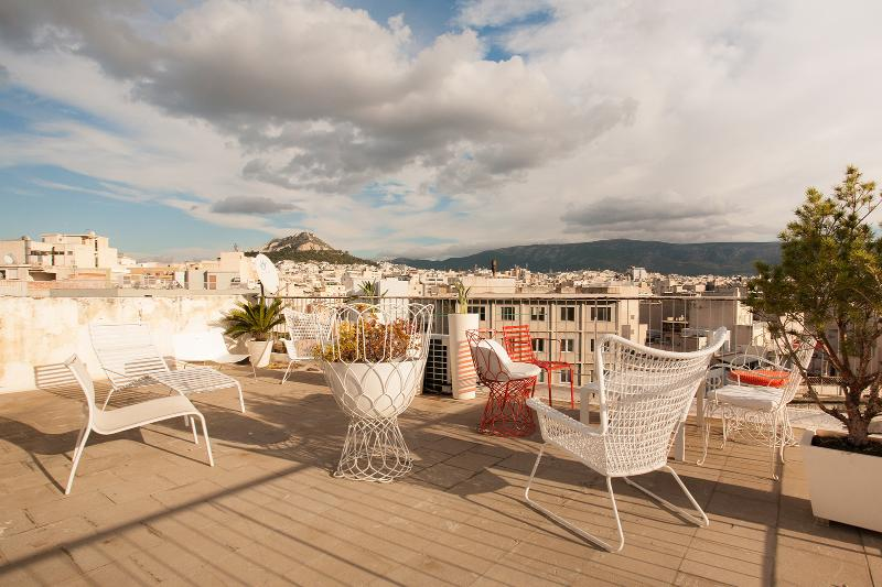 Roof top terrace with a view of Lycabetus hill