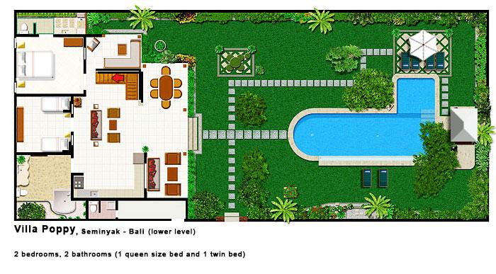Villa Poppy - Lower Level Floor Plan
