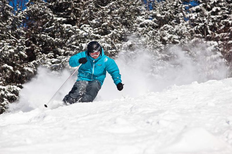 Ski alpin dans la poudreuse.