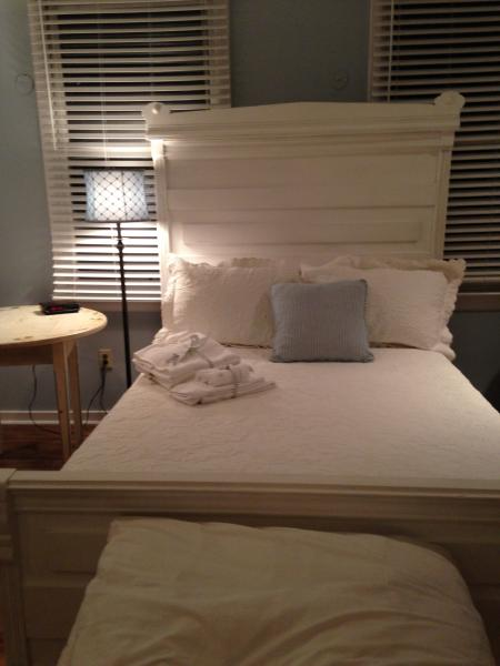 Full Bed with new Pillow Top Mattress with Matelassé Coverlet and Down Comforter