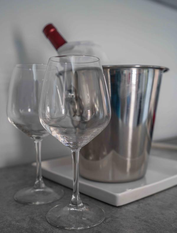 Copas de vino y el cubo de hielo