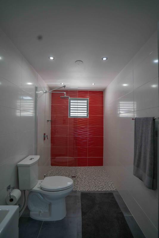 Baño audaz uso de rojo puro drama, moderno y elegante
