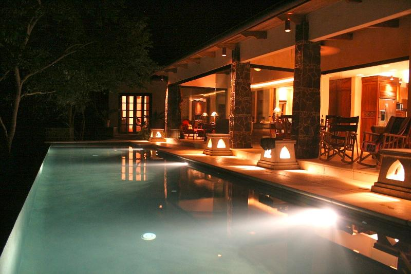 View from the Gazebo to the pool at night