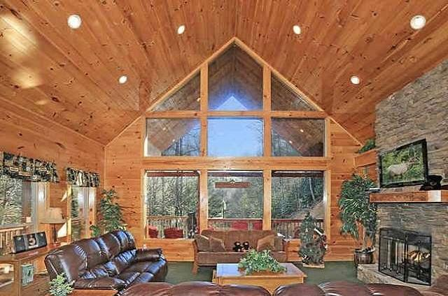 Huge Great Room!  Awesome Views of Black Bear Hollow and located near a creek with small water fall!