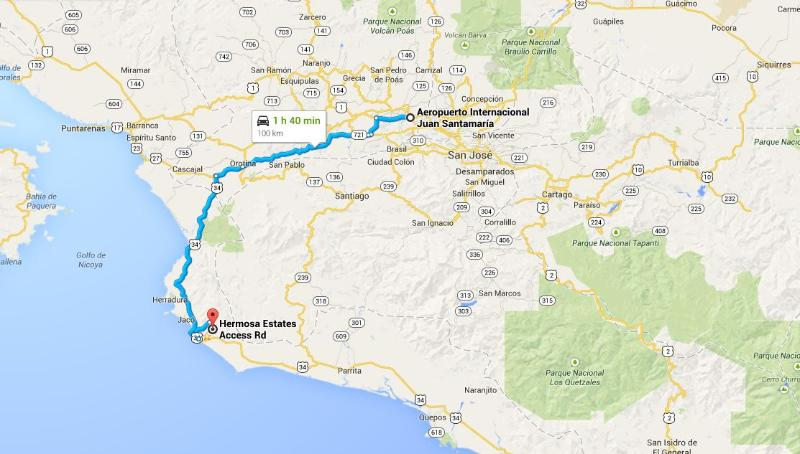 THE BLUE HOUSE is 1 hour 45 minutes from the SJO Airport.
