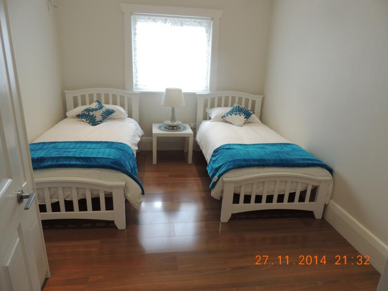 Two single beds, all bed lining and towels provided.