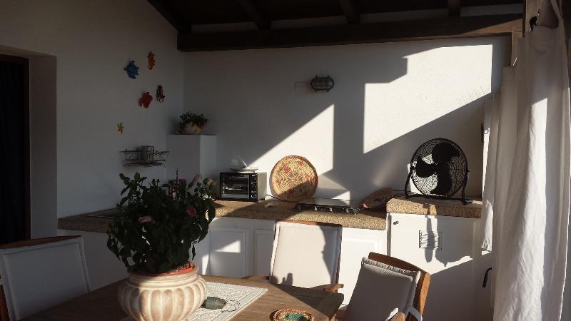 Kitchen in the private veranda sunset and sea view