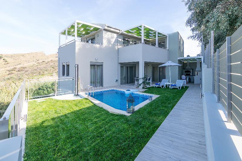 The villa, the lawn & the swimming pool area
