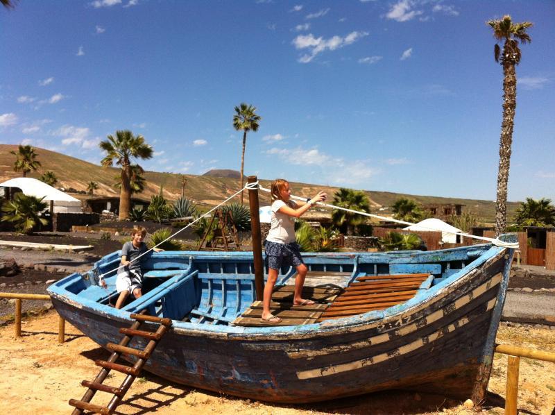 Pirate boat in park at Finca De Arrieta