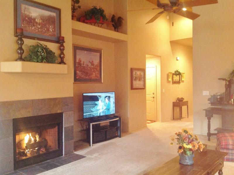 No hassle gas fireplace and 50 inch LED HDTV