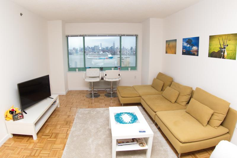 Wohnzimmer mit 2 großen Sofas und Ausblick auf die Umgehung von Kreuzfahrtschiffen